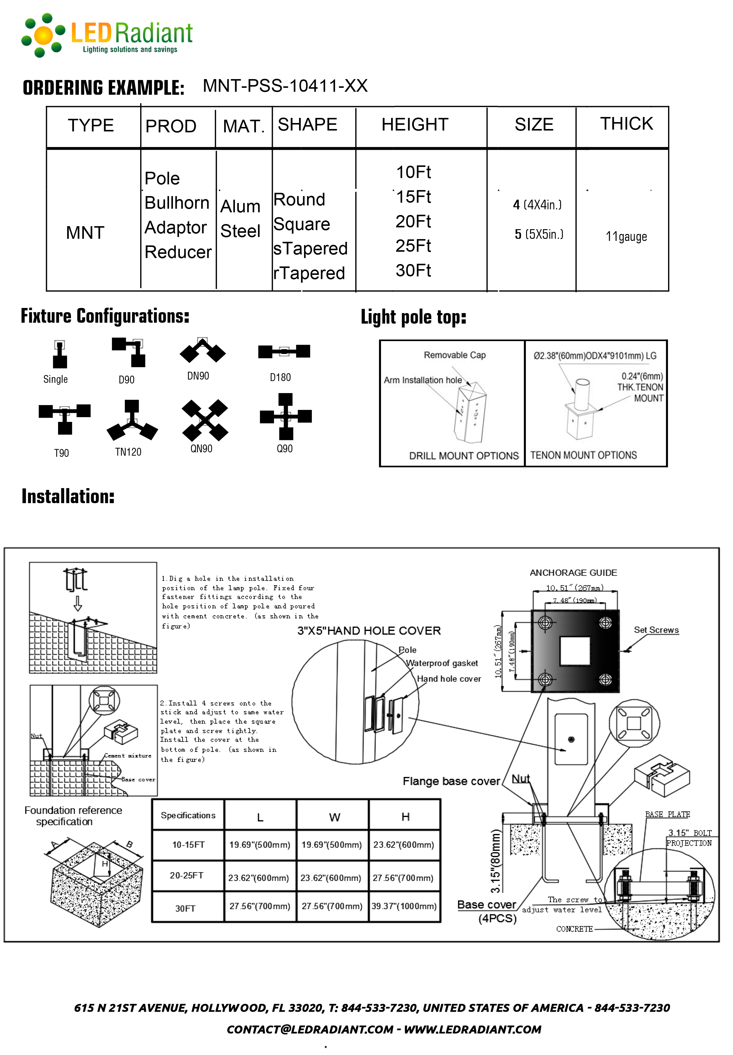 10Ft steel straight square steel pole drawings