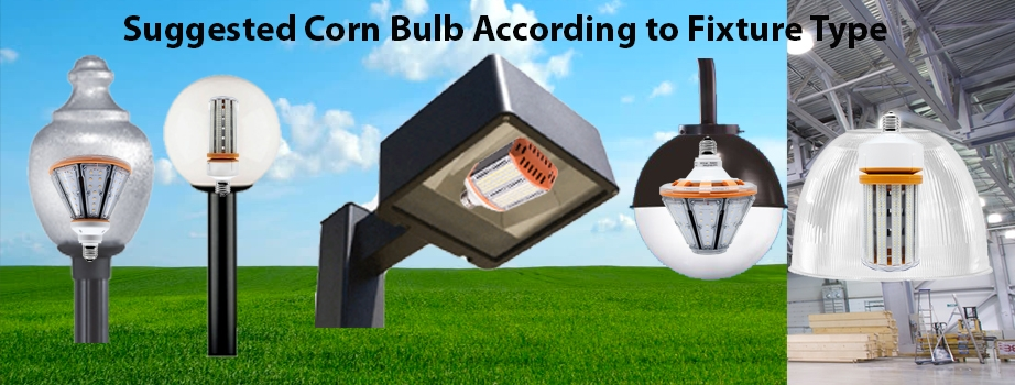 LED corn bulbs to use according to fixture