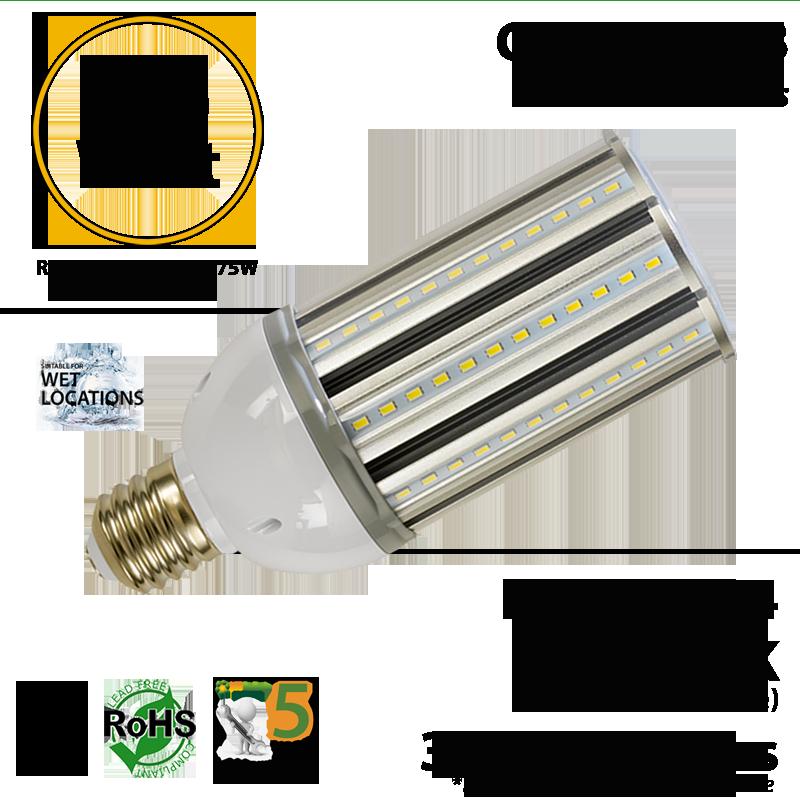 175 Halogen Replacement Led Bulb 36 Watt Corn Light 3900lm