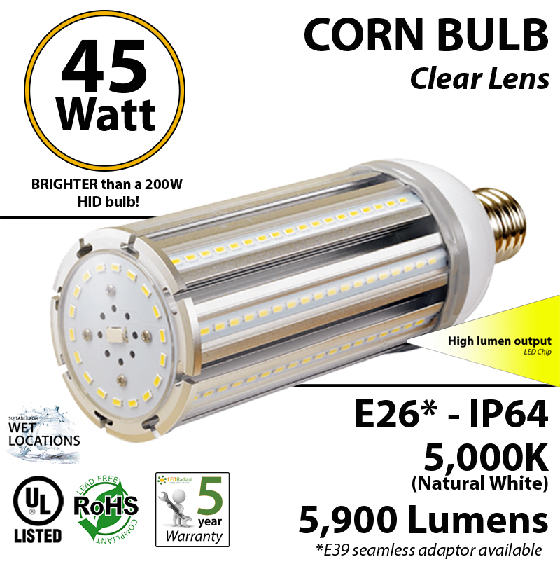 200w Hid Led Equivalent Bulb 45 Watt Corn 5900lm 5000k