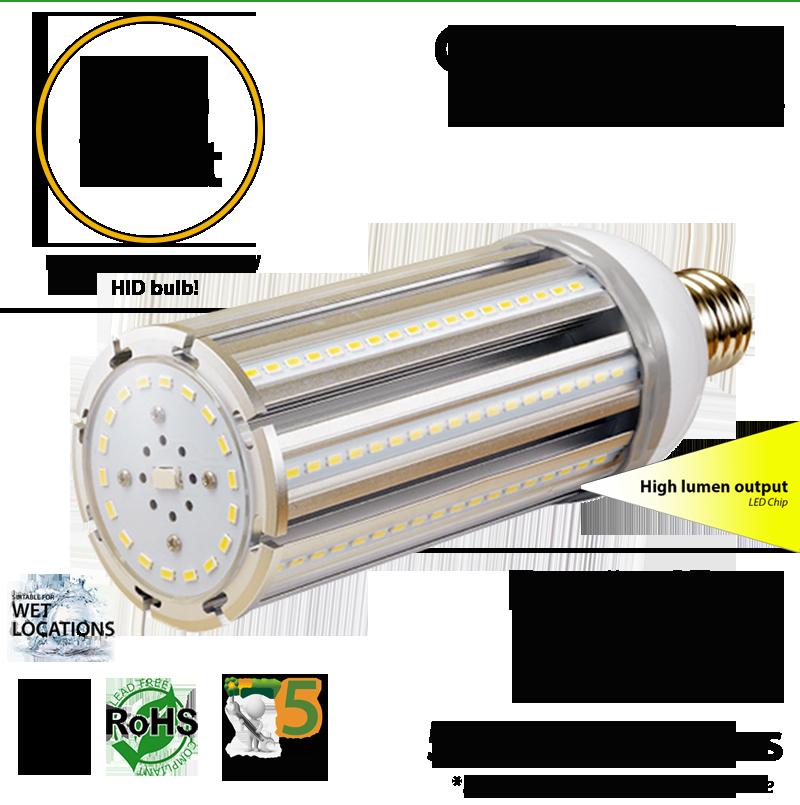 200w Hid Led Equivalent Bulb 45 Watt Corn 5900lm 5000k
