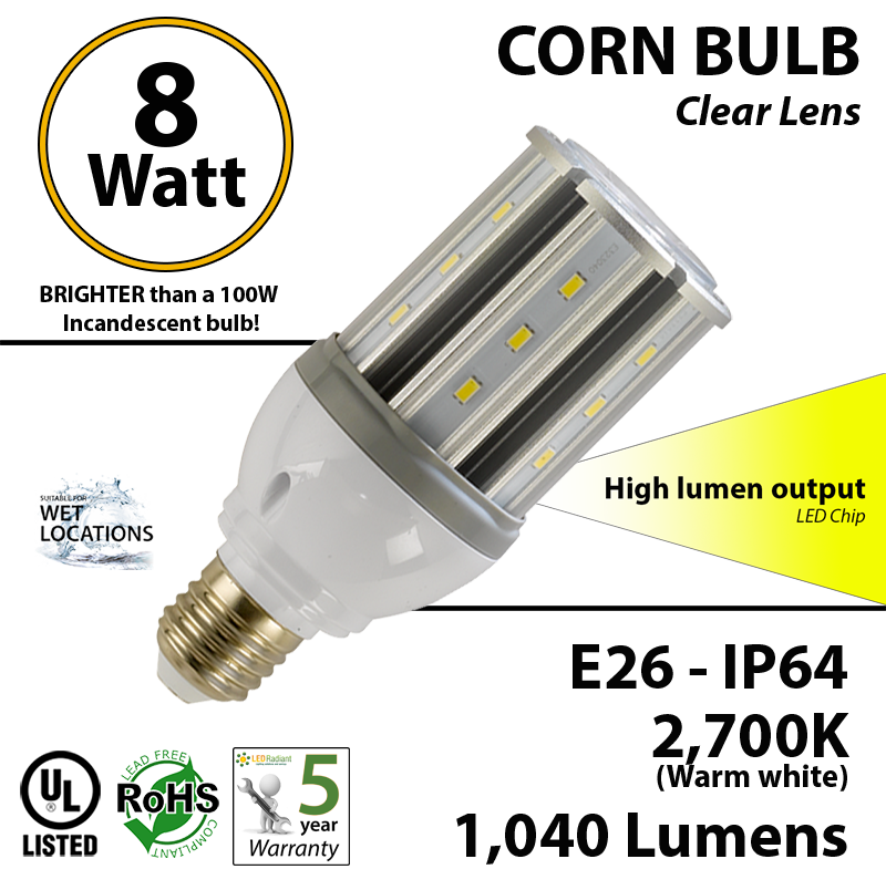 8 Watt Led Corn Bulb 1 040 Lm 100w Replacement 2 700k Ip64