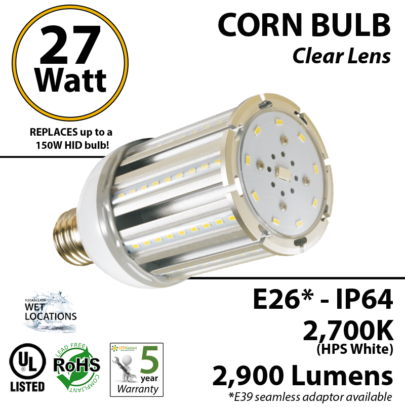 150w Led Bulb Replacement 27 Watt Corn Light 2900lm 2700k