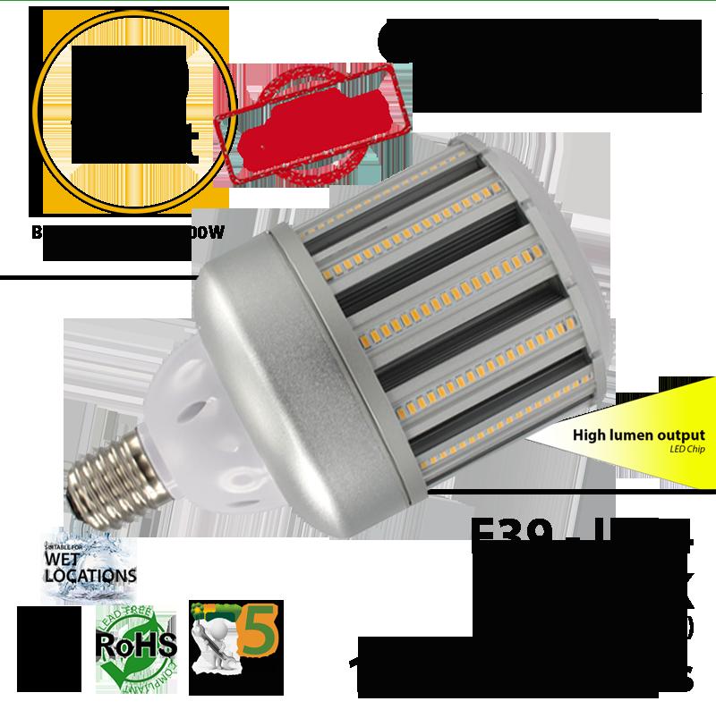 80w led corn bulb equivalent to 350 watt hps halogen light ledradiant. Black Bedroom Furniture Sets. Home Design Ideas