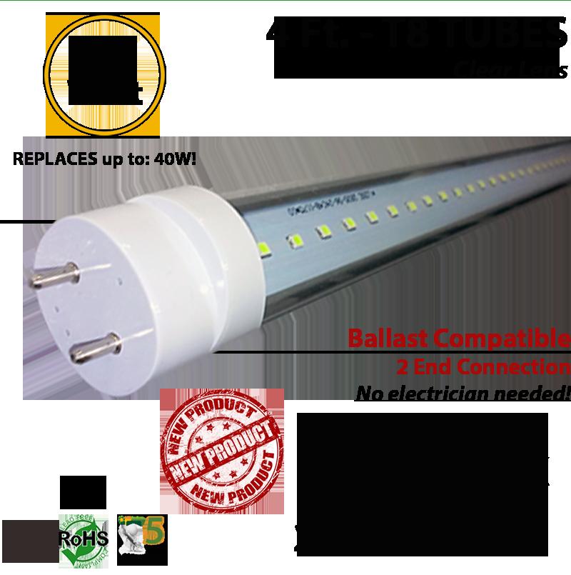 foot led tube light bulb 18 watt t8 5000k clear lens ballast ok. Black Bedroom Furniture Sets. Home Design Ideas