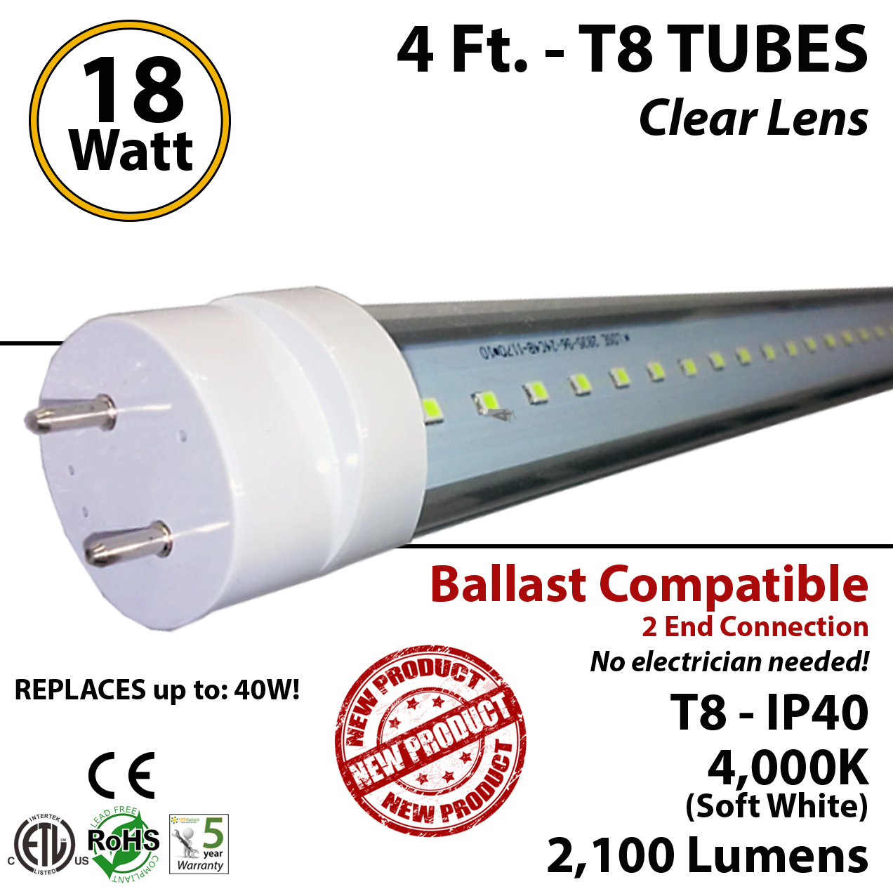 4ft led t8 tube lightbulb t4cbac182104dl_1 18w 4ft led t8 tube light fluorescent replacement 4000k ledradiant  at readyjetset.co