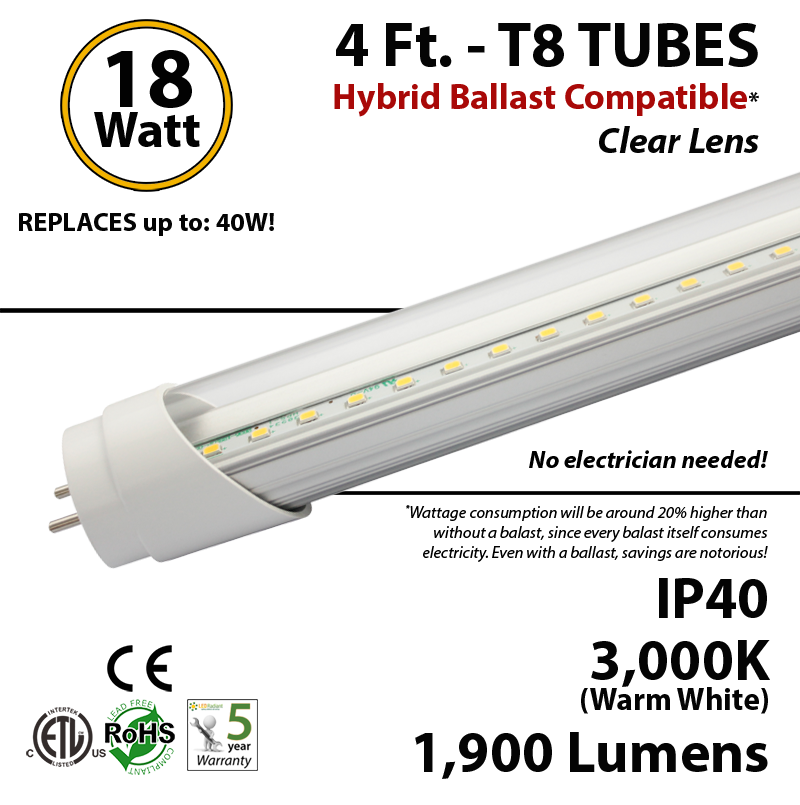 4 ft led tube hybrid ballast compatible 5000k replace fluorescent ledradiant. Black Bedroom Furniture Sets. Home Design Ideas