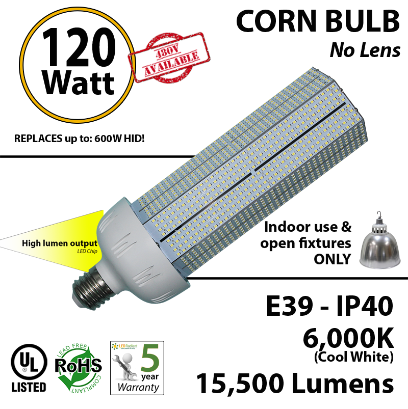 120 Watt Led Corn Light Bulb 600w Halogen Hps Replacement