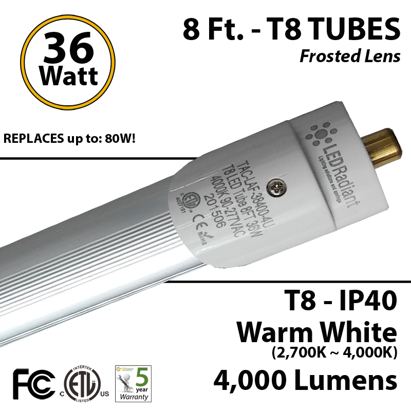 Fluorescent Light Fixture Turns Off By Itself: 8 FT. Fuorescent Tube Replacement LED T8 Light 36W 4000Lm