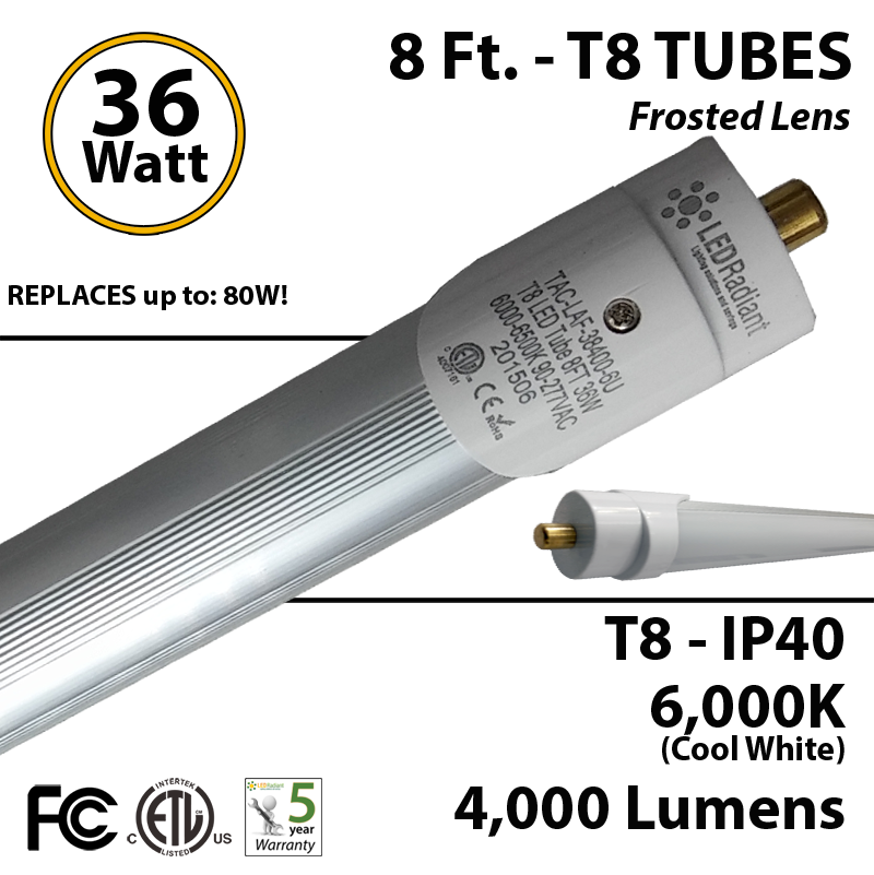 8 Ft  T8 Tube Light 36 Watt Led Replaces T12 75 W Fluorescent 6000k