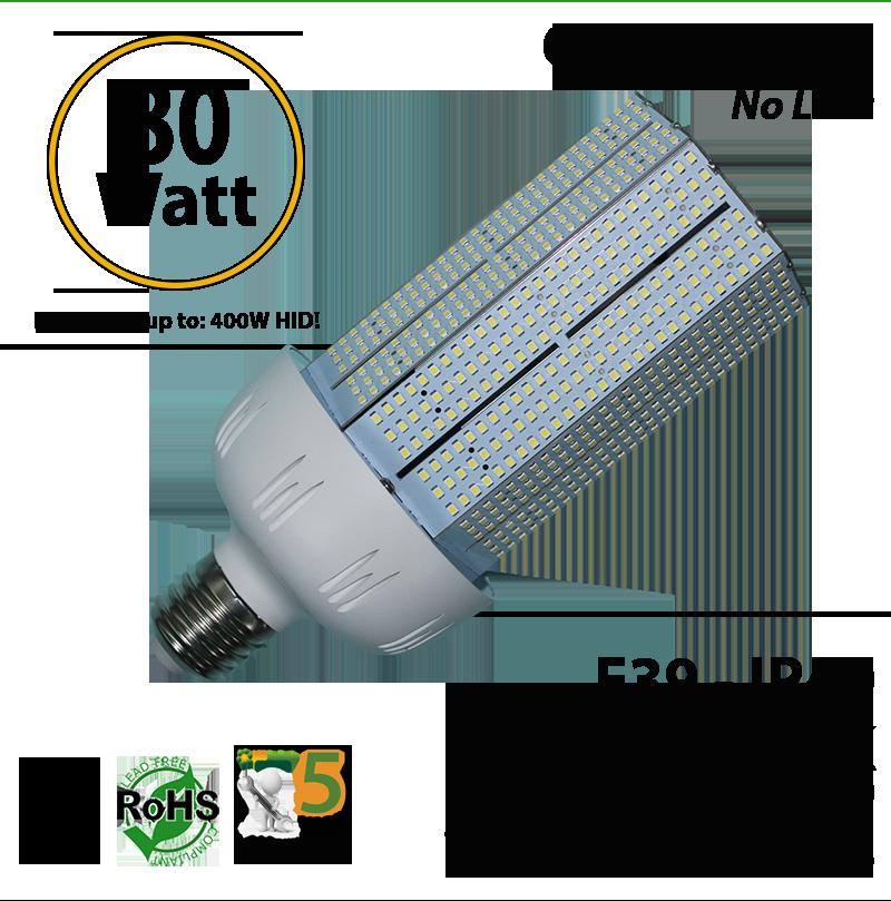 350 watt halogen hps equivalent 80w led light bulb 8400 lumens ledradiant. Black Bedroom Furniture Sets. Home Design Ideas
