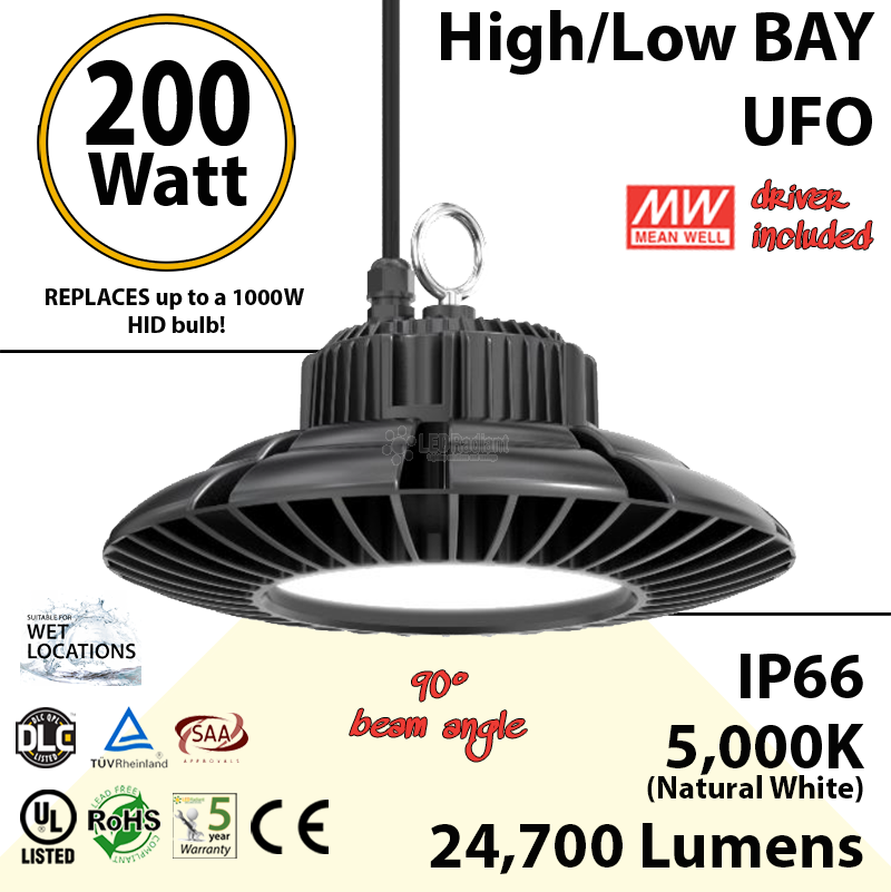 200w High Bay LED Light UFO: 24700 Lumens, 5000K, UL, DLC