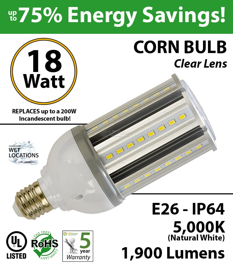 18w led corn bulb 200 watt incandescent light equivalent ledradiant. Black Bedroom Furniture Sets. Home Design Ideas