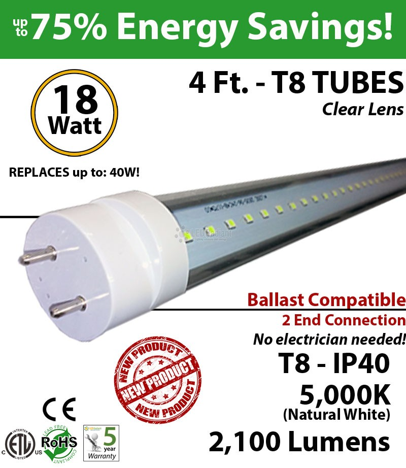 18w 48 inch led tube light t4cbac182105de_1_1 4 foot led tube light bulb 18 watt t8 5000k clear lens ballast ok  at love-stories.co