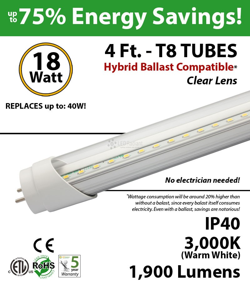 18w 48 inch led tube light t4lbac182203de_1 4 ft led tube hybrid ballast compatible 5000k replace fluorescent  at creativeand.co