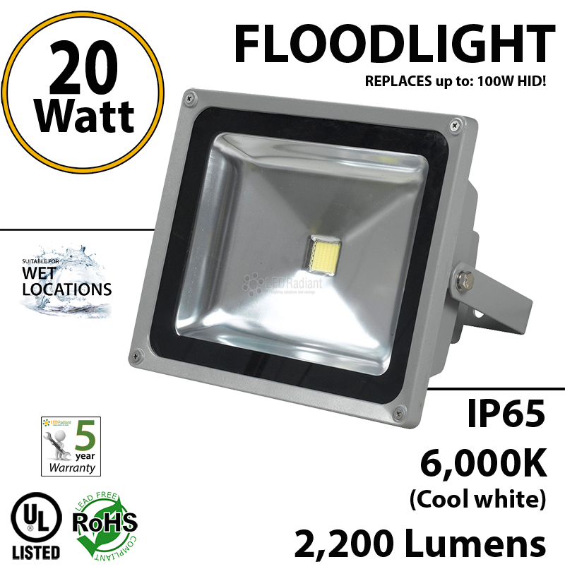 20w floodlight fixture equals 100 hid 2200 lumens 6000k. Black Bedroom Furniture Sets. Home Design Ideas