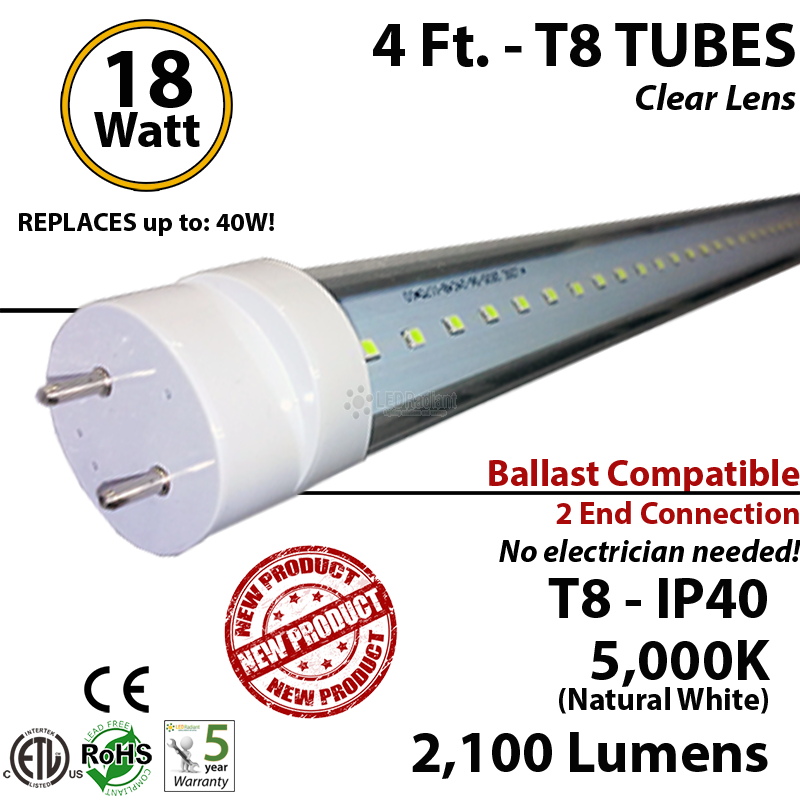 48 inch led tube light t4cbac182105dl_1 4 foot led tube light bulb 18 watt t8 5000k clear lens ballast ok  at love-stories.co