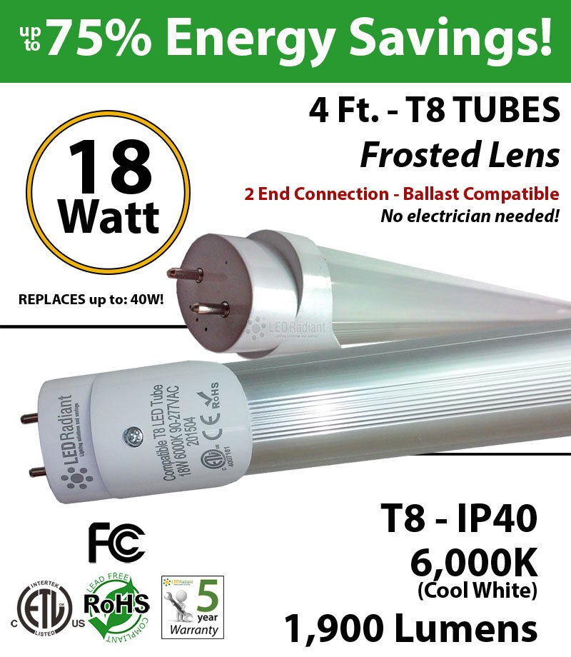 4ft led ballast compatible t8 t4cbaf181906ee_2 18w led tube light 4ft t8 6000k frosted lens ballast compatible  at love-stories.co