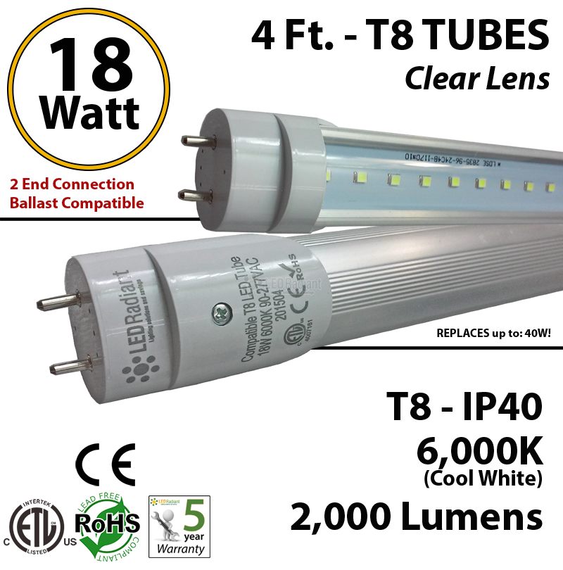 4ft led fluorescent replacement t8 t4cbac182006el_1 4 foot led tube light bulb 18 watt t8 2000 lm 6000k clear lens  at love-stories.co