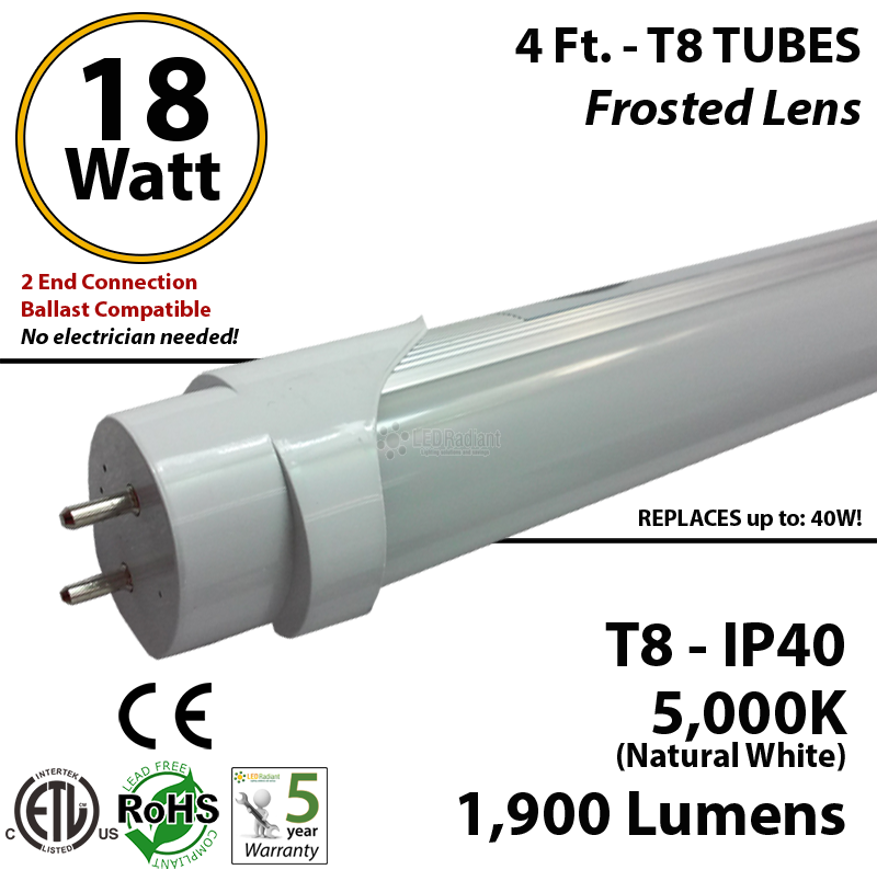 4ft t8 led tube bulb t4cbaf181905dl_1_2 18w led tube bulb 4ft t8 5000k frosted lens ballast compatible  at love-stories.co