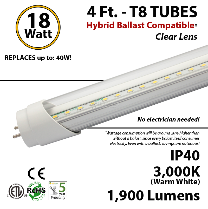 4ft t8 led tube bulb t4lbac182203dl 4 ft led tube hybrid ballast compatible 5000k replace fluorescent  at love-stories.co