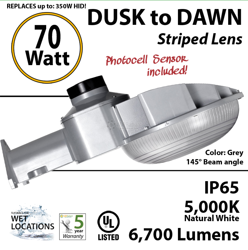 70w led wall pack fixture grey 6700lm 5000k ip65 ul w photocell 70w led dusk to dawn light 6700 lumens 5000k natural white