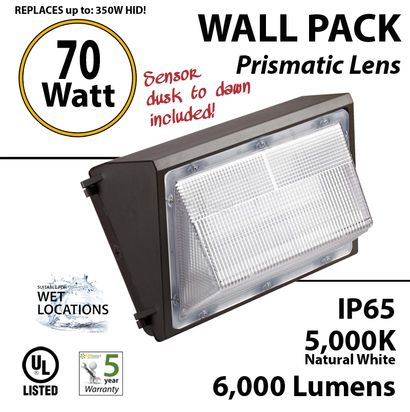 70w led wall pack light photocell fixture with sensor - Led Wall Pack