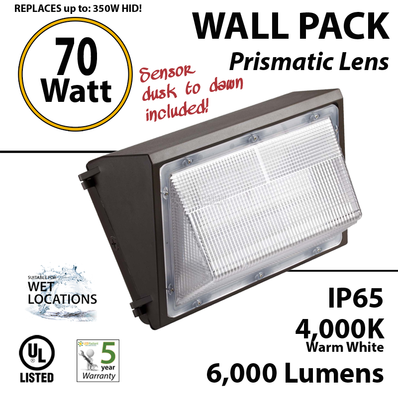 70w led wall pack fixture 6000lm 4000k ip65 ul sensor ledradiant 70w outdoor led wallpack light fixture photocell 300w mh or hid
