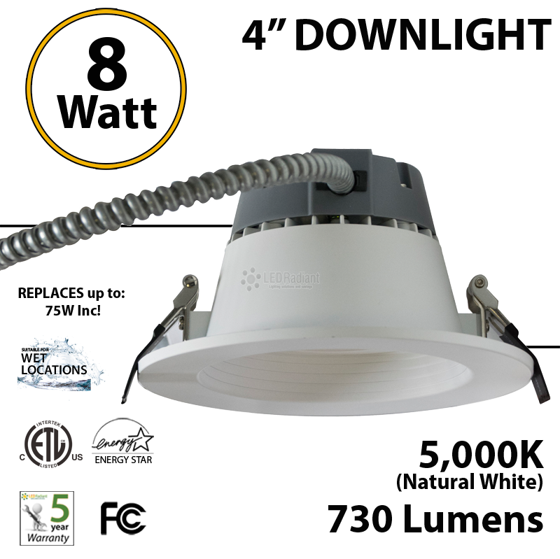 8W LED 4 inch Downlight Architectural Trim 730 Lm Dimmable 5000K  sc 1 st  LEDRadiant & 8W LED 4 inch Downlight Architectural Trim 730 Lm Dimmable 5000K ...