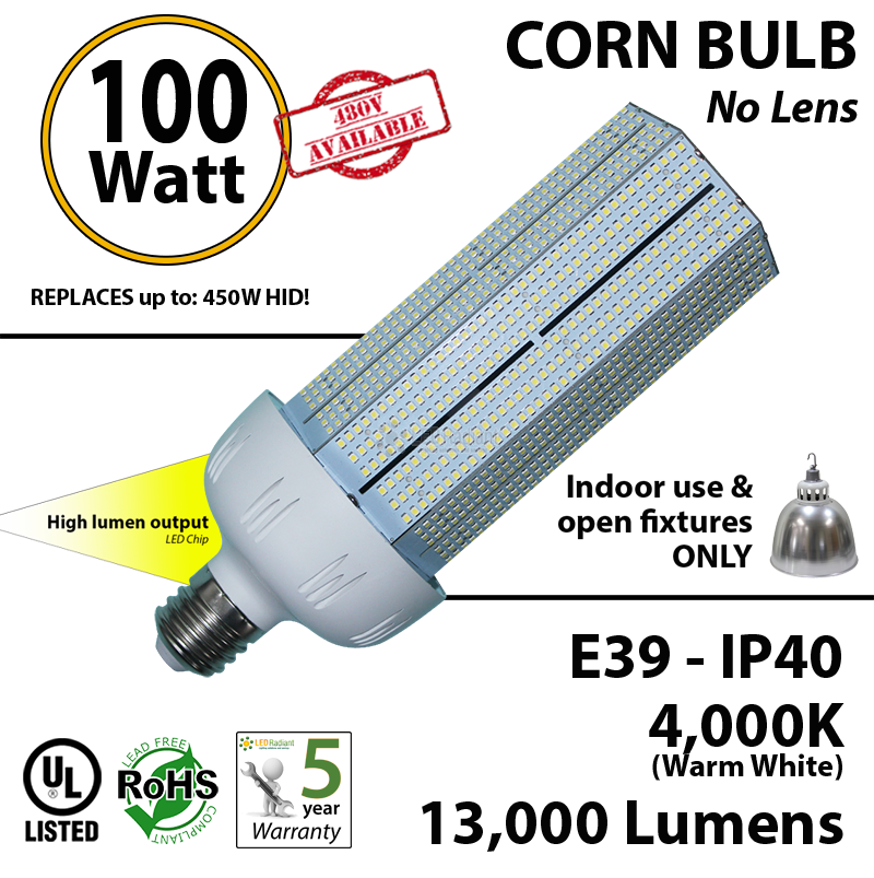 100 Watt LED Corn Bulb Replacement for 400w Lamp 13000Lm ...