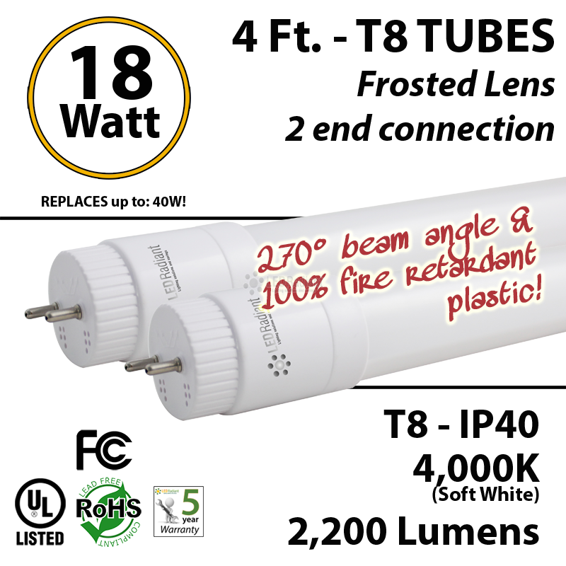 18W 4ft LED T8 Tube light 2200Lm 4000K Frosted Lens 2 End UL All PC : LEDRadiant