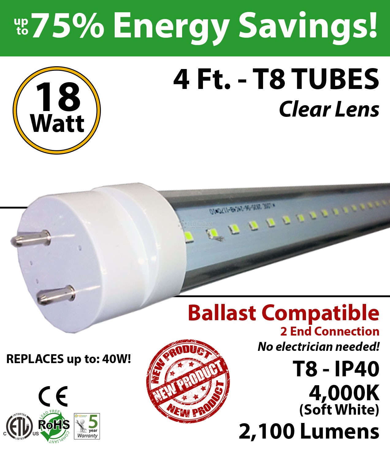 tube lighting t8 4ft t4cbac182104de_3 18w 4ft led t8 tube light fluorescent replacement 4000k ledradiant  at love-stories.co