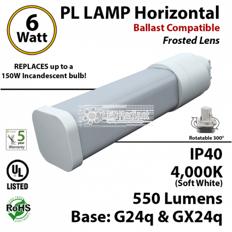6W PL LED Lamp 550Lm 4000K Frosted Lens G24q IP40 UL Ballast compatible