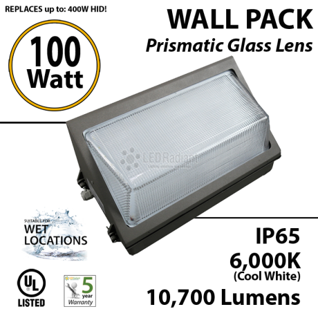 100w LED Wallpack Light Fixture 450 Watt HPS Bulb Replacement