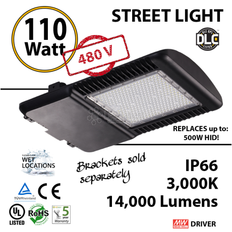 110w LED Street pole lamp Fixture 500 Watt HID Equivalent 480v 3000K