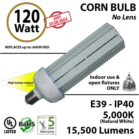 120 Watt LED Corn Bulb 600w HID HPS Replacement 15500Lm 5000K