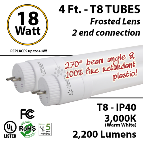 18 watts led ubend tube replace fluorescent frosted lens