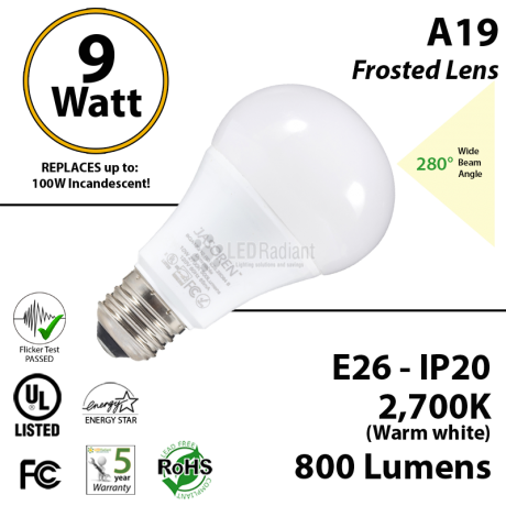 A19 9W   2700K 800 Lm E26 Non-Dimmable Frosted