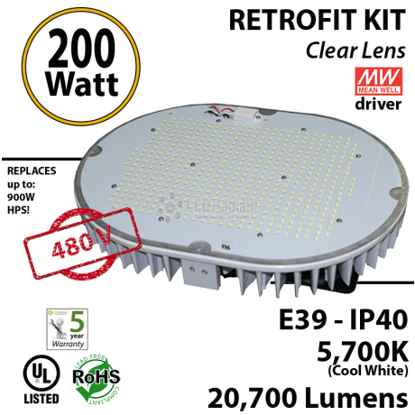 1000 Watt HID Equivalent 240w LED retrofit kit luminaire 20700 Lm 480v