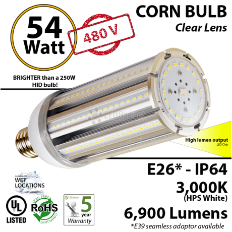 54 Watt LED 300w Halogen Replacement 6900Lm  480V