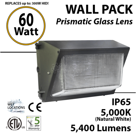 300 Watt hid Replacement for 60W LED wall pack 5000K wallpack