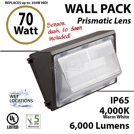 70w Outdoor LED Wallpack Light Fixture with Photocell 300w Mh or HID