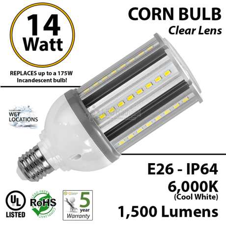 14 Watt LED Corn Bulb Lamp light 6000K E26 Incandescent Replacement IP64 Edison Retrofit UL