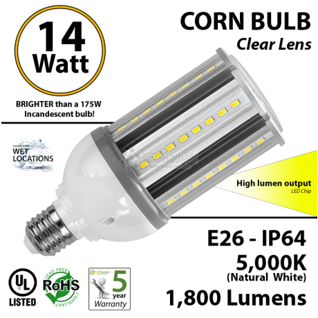 14W LED Corn Bulb Lamp, 1800Lm, 5000K, IP64, E26, UL