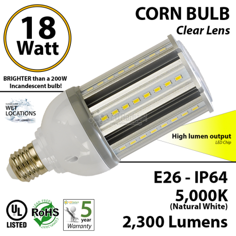 18W LED Corn Bulb Lamp, 2300Lm, 5000K, IP64, E26, UL
