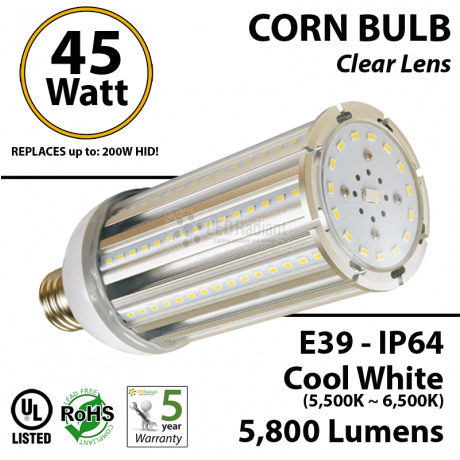 45 Watt LED Corn Bulb Lamp light Cool White E39 HID Replacement Metal Halide IP64 Mogul Retrofit UL
