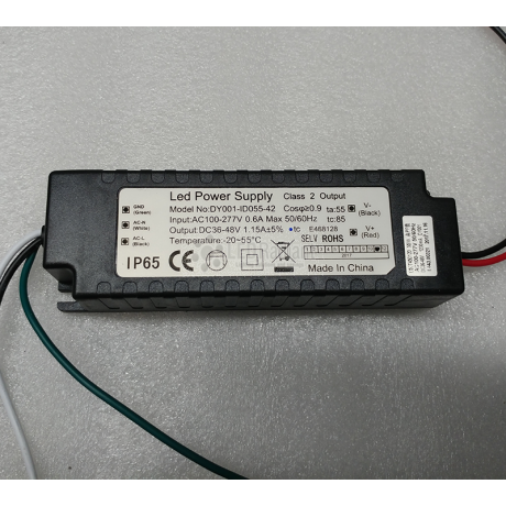 Driver for 55W CSJ-SWS-55650-50 Canopy fixture.
