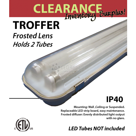 Tr-Proof fixture for 2 4FT LED tubes. Vapor tight
