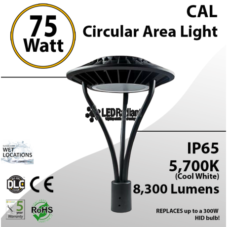 75W LED Landscaping Circular Area Light 8300 Lm 5700K