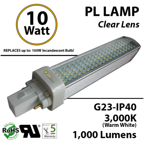 10W PL LED Bulb lamp 1000Lm 3000K G23 IP40 UL.  Direct Line (Remove Ballast)
